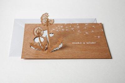 Houten kaart pop-up - make a wish
