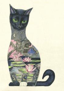 Wenskaart - zwarte kat