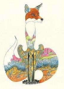 Wenskaart - zittende vos