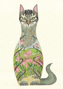 Wenskaart - kat in rozentuin
