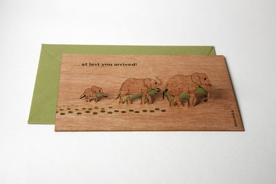Houten kaart pop-up - at last you arrived