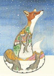 Wenskaart - vos in de sneeuw
