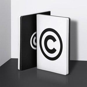 Notitieboek A5 - Copyright, zacht leer, zwarte tekst