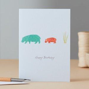 Wenskaart Hippopotamus & Grass Birthday