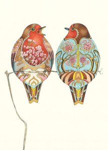 Wenskaart - twee roodborstjes