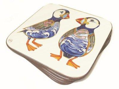 Onderzetter - twee papegaaiduikers