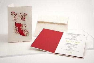 Handgeschept papier - kerst sok