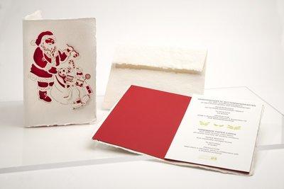 Handgeschept papier - Kerstman